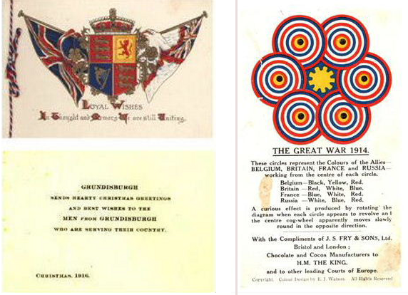 Patriotic Christmas wishes (left)  Advertising and the war (right)