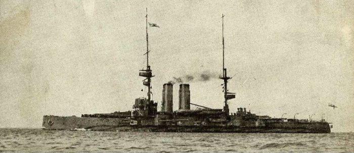 "HMS Commonwealth in about 1908.  Source: www.naval-history.net (CyberHeritage/Trevor Phillips)"""