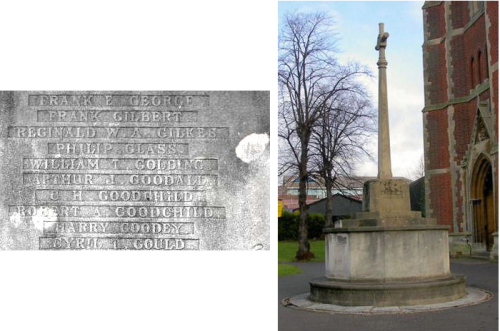 CH Goodchild, recorded on Slough St Mary War Memorial (Robert A Goodchild was unrelated).  Photos: Tony Sergeant