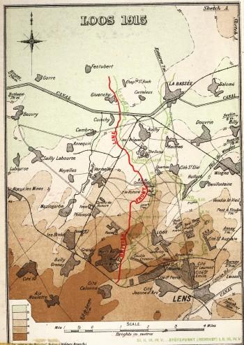 The Loos Battle Area (source: Edmonds [1928] inside front cover)