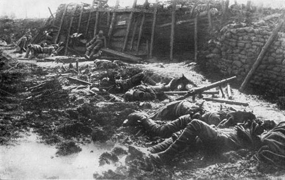 Aftermath of a German gas attack, believed to be phosgene, on a BEF emplacement in 1916.  Photo by Hermann Rex